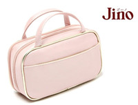 Wholesale Hot selling Pink Double Zipper Double Layer Portable Cosmetic Bag Storage Bags