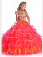 Wholesale 2014 New Girl s Pageant Dresses New Lovely One Shoulder Crystals Rhinestones Ruffles Organza Green Yellow Ball Gown Cupcake Dresses PA