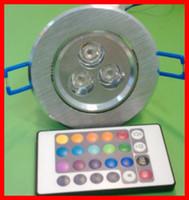 Compra Cambiar las bombillas downlight-Lámparas del bulbo de Downlight 3pcs LED del cambio del color de la luz de techo de 3W LED para la iluminación 10pcs de la decoración del comedor del hotel La porción DHL libera la nave