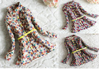 Girl Winter Long Girl Coat 92202 Girl Flowers Thicken Long Sleeve Outerwear Fashion Cotton Coat Children Outerwear Khaki Red Polka Dot