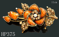 barrette for sell - hot sell vintage hair jewelry rhinestone flower hair clip hair accessories for women Mixed colors HP375