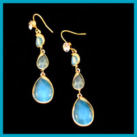 1pair 18 K Gold Covered elegant Water- drop- shaped Blue Opal ...