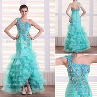 A-Line Modern Sequins Hot Selling Rhinestone Appliques A-Line Asymmetrical Neckline Organza Peacock Prom Dresses(get one pearl necklace for free)