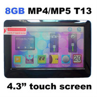 "Pink 4GB >4'' Free Shipping T13 4.3 "" 8GB Touch Screen MP4 MP5 player video player With games ebook reading FM radio in original box"