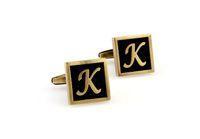 Brass alphabet cufflinks - Square alphabet brushed gunmetal cufflinks K L M N O P Q R S T