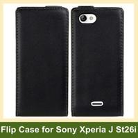 al por mayor xperia j leather-Mayorista de Moda de una funda de piel para Sony Xperia J ST26i Flip Cover Case para Sony-Ericsson Xperia J ST26i 10pcs/lote Envío Gratuito