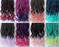 Wholesale Hair Factory Sale Product Women s Colorful Hair Wavy Ombre Hair Extension Highlight Hair Clip in Hair Extensions Colors Optional