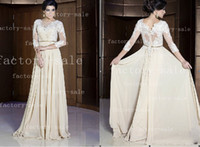 Wholesale 2014 Middle East Prom Dresses V Neck Beaded Appliques Chiffon with Long Sleeves Floor Length Summer Evening Gown BO2447