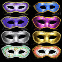 Wholesale 14 Colors Half face Gold Powder Flower around Painting Halloween Masquerade Mask Venetian Party Mask Mardi Gras Mask