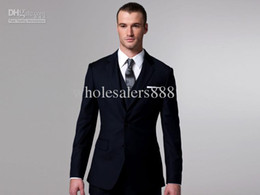 Wholesale New Custom Design Navy Blue Groom Tuxedos Notch Lapel Best Man Suits Jacket Pants Tie Vest G605
