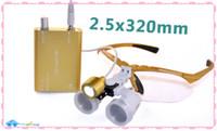 Yellow 2.5X 320mm Yellow 2.5X320mm Dentist Surgical Binocular Loupes optical glass Dental magnifier +LED headlight lamp