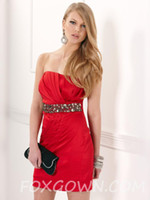 Reference Images Satin Strapless Cheap! Sexy red satin sheath short mini cocktail gowns strapless backless sleeveless sequins beaded homecoming dresses