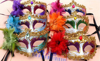 Wholesale 50 Hot Similar Feather Masquerade Mask On A Stick Wedding Party Mask Black Blue more Color option