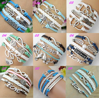 Wholesale Infinity leather bracelet Wraps bracelet Anchor amp love amp wings amp owl Bracelet