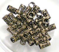Round filigree jewelry findings - 500pcs Filigree Tube Beads Antiqued Solid Brass x mm Jewelry Finding