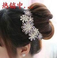 Red South American Women's Wholesale - Bridal Hair Accessories Women Luxury Crystal Rhinestone Flower Hair Clips Headwear CL-T1