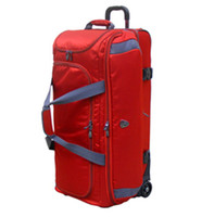 Suitcase Nylon Cloth External Red Trolly Cases High Quality Carry on Luggage Aluminous Trolley Dual Internal Packing Compartments Lockable Zip Durable Nylon Case