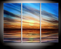 Wholesale hand painted fog clouds sunrise sea Abstract landscape oil paintings on canvas set mixorde Framed