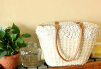 Wholesale Straw Bags Woven Handbag Beach Bags Summer Shoulder Bags with Cotton Lace H