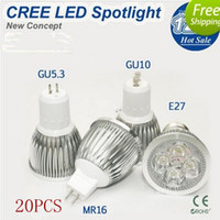 110V 12W White 20pcs Retail GU10 E27 MR16 E14 GU5.3 12W 4*3W 4leds 85-265V 110V 220V LED Spotlight Bulbs Led lamp light free shipping