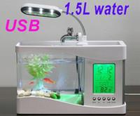 Wholesale Mini USB LCD Desktop Lamp Light Fish Tank Aquarium LED Clock black white two colors freeshipping dropshipping