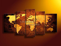 Oil Painting Abstract Unframed hand painted decorative painting mural world map frameless abstract oil painting on canvas t04