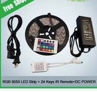 Wholesale 5m set RGB SMD5050 Flexible Waterproof Led Strip Light Key Remote A Power Supply for Outdoor