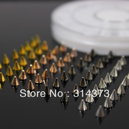 Wholesale 1 Wheel Mix Colors Black Champagne Silver Gold Metal X4MM Alloy Punk Rock Spike Studs Rivet Nailheads Nail Art Decorations