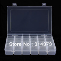 Wholesale Transparent Plastic Empty Rectangle Box Nail Art Rhinestone Beads Tools Jewelry Accessories Craft Grid Storage Case Container