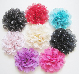 Dot Chiffon Flower For Baby Headbands Girls Corsage Flower Hair Accessories headdress Flowers DIY Photography props 60pcs wholesale Fashion