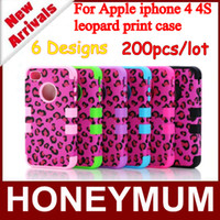 For Apple iPhone Plastic+Silicone  200pcs High Quality 3 in 1 leopard print hard Silicone+PC Combo case Cover for iphone 4 4S+Best Service