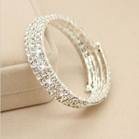 Wholesale Hot Rhinestone Bridal Accessory Bracelet Row Stretch Bangle Wedding Party Jewelry