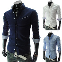 Wholesale 3092 HOT New Fashion Oblique bag design Men s Long Sleeve Shirts Casual Slim Shirt