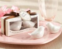 Wholesale 600pcs pairs Fedex quot Love Birds in the Window quot Salt Pepper Ceramic Shakers Wedding Party Favor