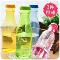 Wholesale 3 soda bottle water sports personality leakproof sealed glass