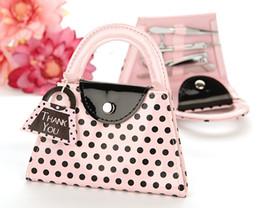 Lowest Price 50sets Fedex Free shipping 'Pink Polka Purse' manicure set pedicure set,wedding favor,bridal shower favors