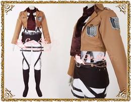 Wholesale Attack on Titan AOT Shingeki no Kyojin Mikasa Ackerman Recon Corps Costume cosplay anime full set leather