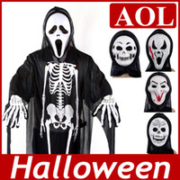 Wholesale 2013 Halloween costumes Masquerade costumes Horror Skeleton Ghost Clothing with skull mask and skeleton gloves