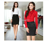 Wholesale Free shippping New Autumn Winter fashion OL slim elegant Long Sleeve career suits for women business wear Shirt Skirt