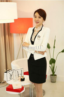 career suits for women - New women s office suit overall long sleeved coat Skirt plus size for Ol women Career Suits Uniform Clothes With Corsage