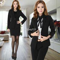 Women Skirt Suit Formal Hot sale Formal Pants Suit For Women Office lady Business Career Work Wear Coat & Pants Suit Long Sleeve Free Shipping