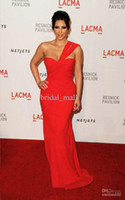 A-Line Modern Sash Free shipping One Shoulder Chiffon Red Celebrity Evening Dress of Kim Kardashian