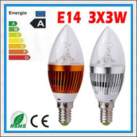 Wholesale 10PCS CREE X3 W LED Candle Light E14 B22 E12 Candle Bulb Spotlight V Cool Warm White CE RoHS Silver Gold Shell