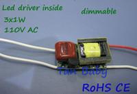 CE 3*1w 220V /110 VAC 50/60Hz wholesale Free shipping 10pcs 110V 220V dimmable led driver 3x1W 300ma led lighting transformer for 3W GU10 E27 E14 led lamp best quality