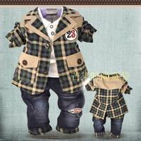 Boy Spring / Autumn  Bran-New Cool European style boy three-piece suit Baby set kids suit 3pc set(Coat+T Shirt+Pant) Children Suit Kid Clothes
