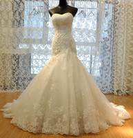 Wholesale 2012 New Wedding Dress Tulle Strapless Straight Neckline Lace Empire Bow Beaded Mermaid Bridal Gown Backless Wedding Dresses