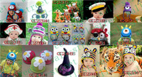 Wholesale Kids Crochet monkey earflap hat Knitting animal hats Handmade Newborn caps Monkey hats