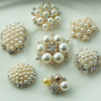 Wholesale LO styles metal rhinestone button with pearl for Hair Flower Wedding Invitation Scrapbooking