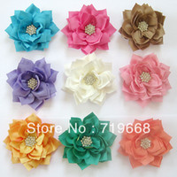 Wholesale cm colors rhinestone button center fabric flower baby hair headband crafting DIY accessory