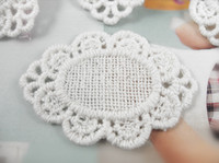 Wholesale oval cotton white embroidery lace patch motif applique hair ornaments home decor DIY crafting accessory